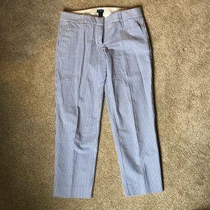 J crew city fit white & blue seersucker pants
